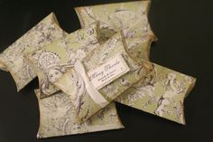 Wedding Favors Vintage Pillow Box Green Grey by FaithfulCrafter