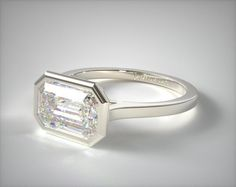 Platinum Bezel Solitaire Engagement Ring (Emerald Center) | 17250P - Mobile