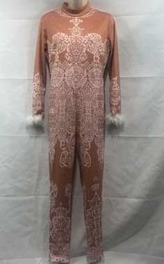 185da1d3da6c Womens Pink and Bronze Full Body Long Sleeve Jumpsuit Romper Faux Feathers  NEW  fashion