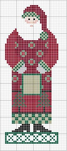 Free Cross Stitch Pattern: Country Santa with Christmas trees and wreaths on coat.