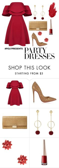 """#PolyPresents: Party Dresses"" by marr-neubauerova on Polyvore featuring Christian Louboutin, Furla, contestentry and polyPresents"