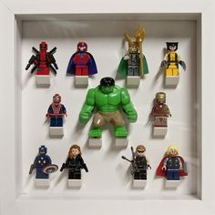 Marvel and The Avengers - LEGO I need this.and finally we have a Hulk that's actually bigger than every lego person around. Marvel Dc, Lego Marvel, Legos, Hulk, Figurine Lego, Marvel Bedroom, Avengers Room, Lego Display, Lego Minifigure Display