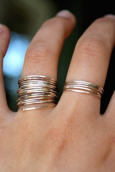 Simple Jewelry: Thin Gold Bands.  I have been looking for a right hand ring (stackables) for months and finally bought one.  I like these much better!