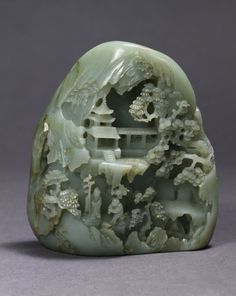 Jade miniature mountain with Daoist Paradise, made in China, 1736-95