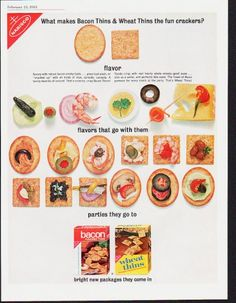 """Description: 1963 NABISCO vintage magazine advertisement """"Bacon Thins & Wheat Thins"""" -- What makes Bacon Thins & Wheat Thins the fun crackers? flavor ... flavors that go with them ... parties they go to ... bright new packages they come in -- Size: The dimensions of the full-page advertisement are approximately 10.5 inches x 13.5 inches (26.75 cm x 34.25 cm). Condition: This original vintage full-page advertisement is in Excellent Condition unless otherwise noted."""