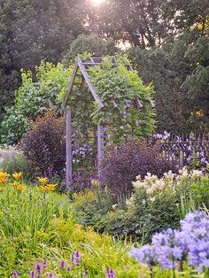Betony, lilies and filipendula, aka Meadowsweet, grace the area around the arbor. Beautiful Gardens, Beautiful Flowers, Landscape Design, Garden Design, Garden Arches, Garden Arbor, Garden Structures, Garden Spaces, Dream Garden