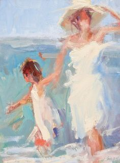 Mother + daughter standing in the waves. Art by Marian Pacsuta Man Cave Paintings, Paintings I Love, Love Painting, Figure Painting, Portrait Paintings, Portraits, Mother Daughter Art, Faceless Portrait, Easy Canvas Painting