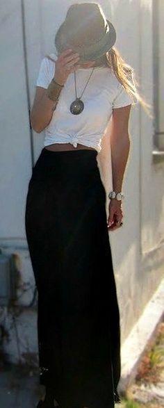 Long black skirt, white t-shirt
