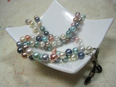 Beaded Badge ID Lanyard Eyeglass Holder Glass Pearls by LandKbeads, $20.00