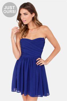 LULUS Exclusive Sash Flow Strapless Royal Blue Dress at LuLus.com!