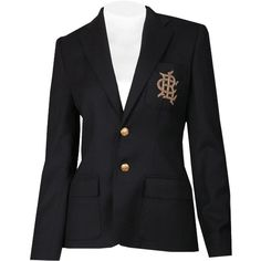 Ralph Lauren Navy Doeskin Wool Polo 1 Custom Blazer ($690) ❤ liked on Polyvore featuring outerwear, jackets, blazers, tops, abrigos, navy blazer, wool blazer, flap jacket, ralph lauren blazer and polo jackets