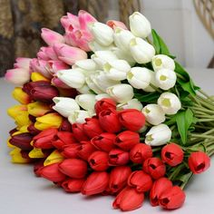 Tulip Flower Bouquet PU Fake Artificial Flowers Tulips Real Touch Wedding Flowers For Decoration Mariage Flores Tulip Bouquet, Flower Bouquet Wedding, Spring Bouquet, Home Wedding Decorations, Flower Decorations, Home Decoration, Tulips Flowers, Silk Flowers, Fuerza Natural
