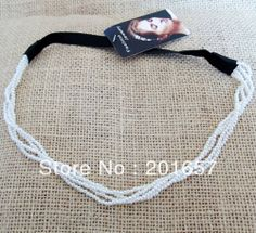 Wholesale and Retail korea style pearl many beads chain rolled headbands hiar accessories 12pcs/lot $18.00