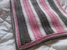 Grey and Pink Baby Blanket Made to order by ComfyCozyCreation, $45.00