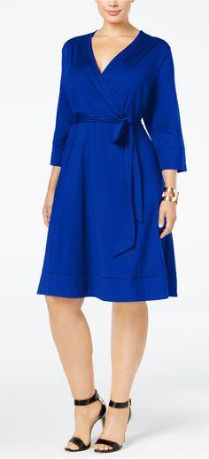 A wrap dress is flattering on everyone!   Plus Size Faux-Wrap Dress