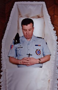 French police officer in coffin Funeral Photography, Post Mortem Photography, Funeral Caskets, Post Mortem Pictures, Memento Mori, Police Officer, Coffin, Old Photos, Ireland