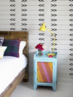 These dressers were painted and bombed with yarn for a softer, more stylish look.