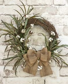 Cotton Wreath Cotton Boll Wreath Fall Wreath от AdorabellaWreaths