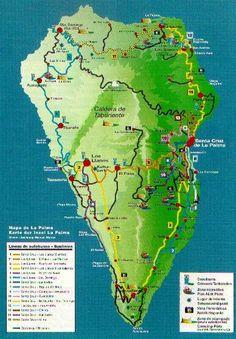 Mapa de carreteras de la Isla de La Palma la palma Pinterest