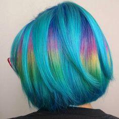 blue rainbow hair