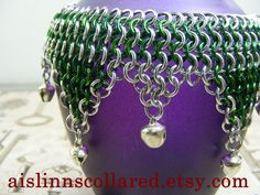 4in1 Chainmaille Slave Bells Dancing Anklet Silver Tone by aislinnscollared on Etsy