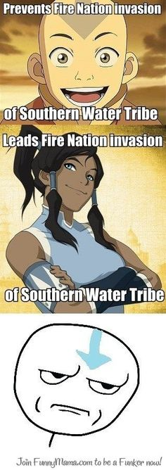 Okay guys, 1st off, the Fire Nation is no longer the enemy, 2nd, shes leading against the Northern Water Tribe. If you're gonna pitch a bitch on her get it right!