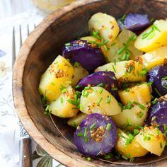 Hauptgericht: Kartoffelsalat mit blauen Kartoffeln