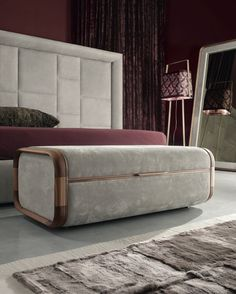 "MAISON WALNUT + LEATHER STORAGE CHEST FLY GRACE BED Materials:  solid walnut and Italian leather Dimensions:  98""W x 85""L x 65""H - luxe (mattress size 71""W x 79""L)  106""W x 85""L x 65""H - super luxe (mattress size 79""W x 79""L)"