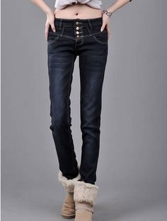 Winter Style LEYO Thicken Skinny Denim Pant Black--Click the picture can place an order,we support wholesale denim. #shoes #wholesale #fashion #lovely #cheap #Korean #dress #sexy