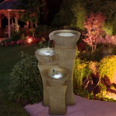 Indoor Outdoor 4Tier Pots Water Fountain with LED Lights