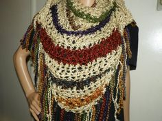 Beautiful Ivory with Rustic Colors Shawl Wrap  by Susieskorner, $35.00