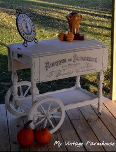 Vintage Tea Cart Antique Tea Cart Painted by MademoiselleRustique