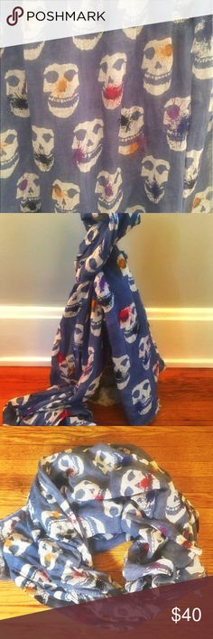 Yarnz Splatter Skull Linen Scarf in Blue Skull print with Colorful Splatter Yarnz Accessories Scarves & Wraps