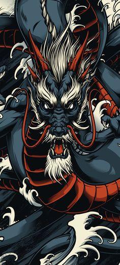 Dragon Wallpaper Iphone, Japanese Wallpaper Iphone, Graphic Wallpaper, Dark Wallpaper, Galaxy Wallpaper, Japanese Art Styles, Japanese Artwork, Japanese Tattoo Art, Dragon Tattoo Art