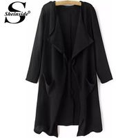Sheinside Women Clothing 2014 Winter Designer Desigual Brand Casual Elegant Black Long Sleeve Pockets Loose Trench Coat