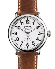 47mm Runwell Men's Watch, White/Brown - Shinola