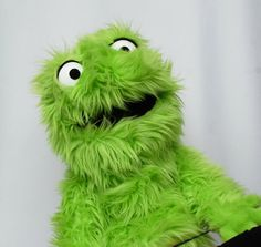 Green Furry Muppet Monster Hand Puppet by OnHandByHand on Etsy