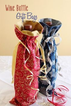 Reusable Wine Bottle Gift Bags Tutorial... two gifts in one when you present a bottle of wine in these beautiful bags ~ Yesterfood