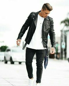 Perfecto style black leather jacket