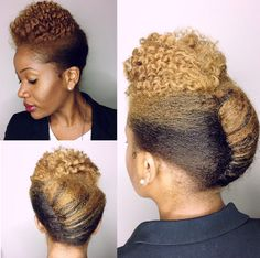 Natural hair updo with colour