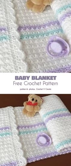 baby blanket Baby Blanket Pram Cover Free Crochet Pattern In the sea of ever fancier crochet projects, it's sometimes nice to deal with a simpler, more classic pattern. The classics are g Crochet Afghans, Crochet Baby Blanket Free Pattern, Crochet Motifs, Crochet Blankets, Crotchet Baby Blanket, Knitting Projects, Crochet Projects, Crochet Bebe, Kids Crochet