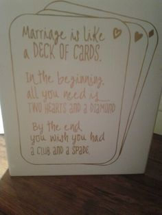 Marriage is like a deck of cards.. Shop online thedoodlingbug.com