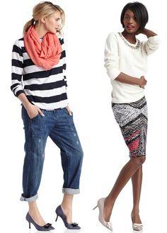 Sole Society-Meryl  On models L to R: striped Gap Top, cuffed Kelly Wearstler Denim, jeweled cream J.Crew Sweater, multicolored DVF Skirt.