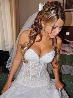 Custom size New white/ivory transperent corset wedding dress - Anna Dream. $499.00, via Etsy.