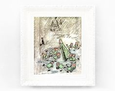8x9 Vintage Madeline Print. Original French Book Plate Illustration. Snow Ice Skating Rink. France Paris Ludwig Bemelmans