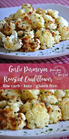 Roasted Garlic Parmesan Cauliflower Simple, yet delicious! This easy Garlic Parmesan Roasted Cauliflower is the perfect side dish to just about any protein. Low Carb Side Dishes, Side Dish Recipes, Low Carb Recipes, Real Food Recipes, Vegetarian Recipes, Simple Side Dishes, Carb Free Meals, Low Carb Meals, Keto Veggie Recipes