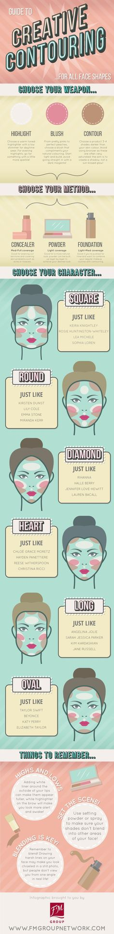 Guide to creative contouring for all face shapes. #beauty #makeup #contouring