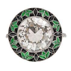 Old European Cut Diamond Emerald Onyx Handmade Platinum Ring