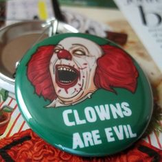 Clowns are Evil  Photo Pinback Button  1 1/2 by thepixelprince, $1.25