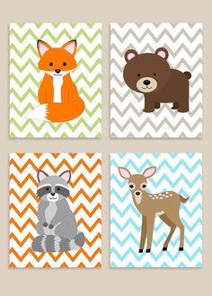 Woodland Nursery Art, Woodland Decor, Baby Boy Nursery, Baby Girl Nursery, Gender Neutral, Woodland Canvas Art, Fox, Bear, Deer, Raccoon: This is a set of the FOUR prints shown above. The price includes all four prints. Prints are freshly printed to order on 69 lb commercial grade